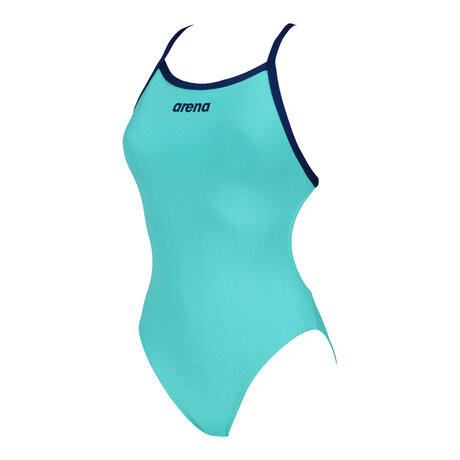 Дамски бански Arena Solid Lightech High Swimsuit (тюркоаз)